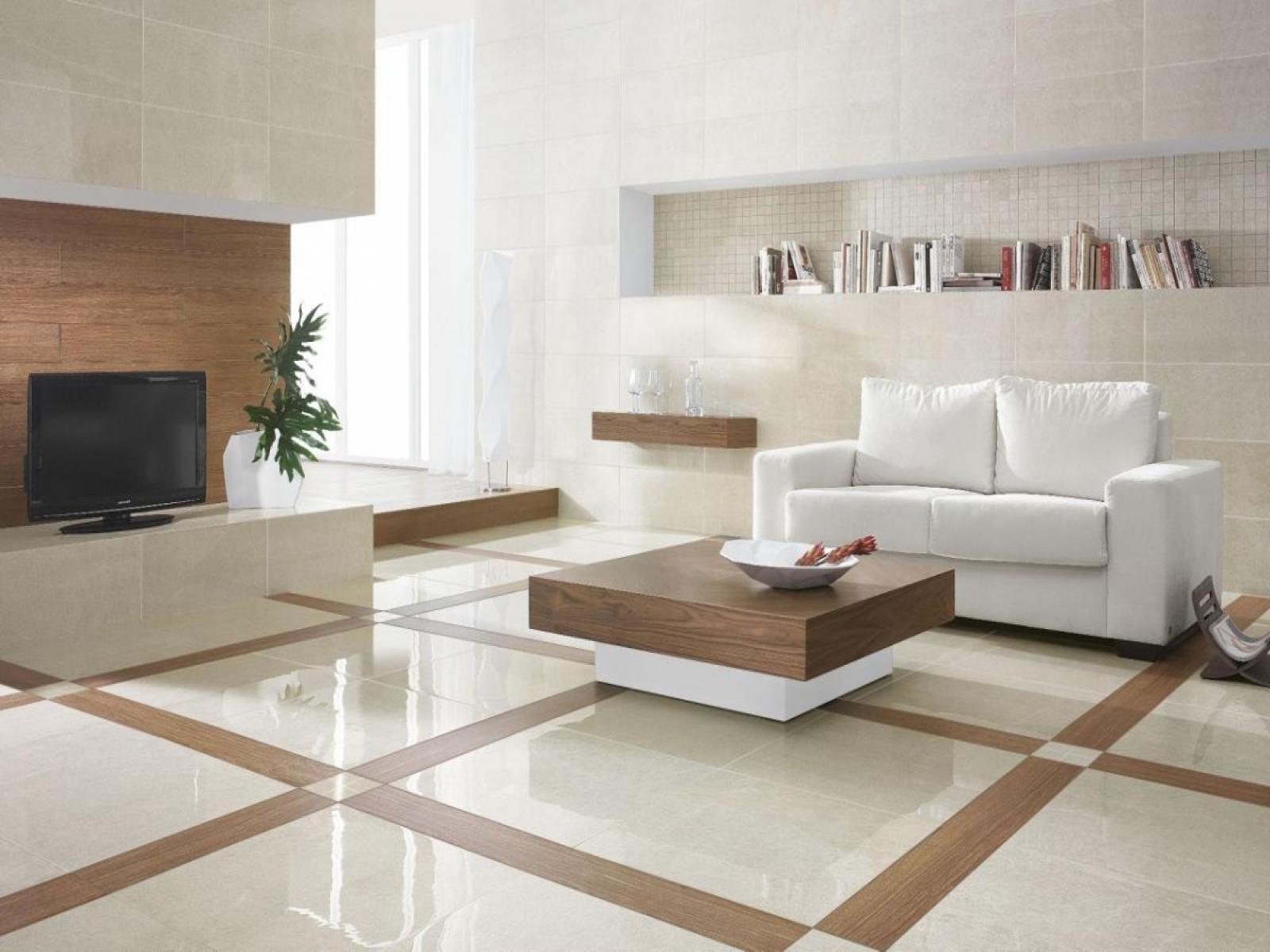 Дизайн керамогранита в гостиной