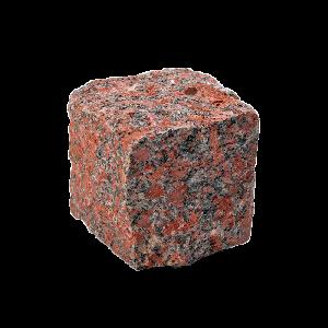 Капустинское (Rosso Santiago GR1) гранит брусчатка колотая 10х10х10 см